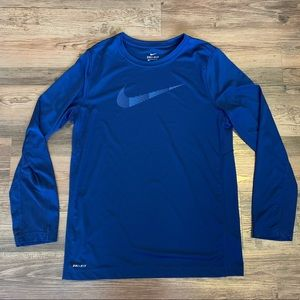 Nike Blue Dri-Fit Long Sleeve XL fits like L